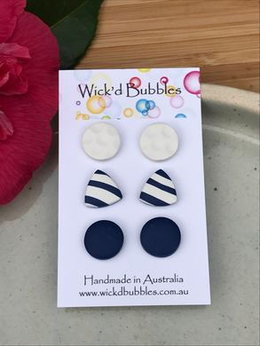 Navy and White Stud Earrings | 3 pack