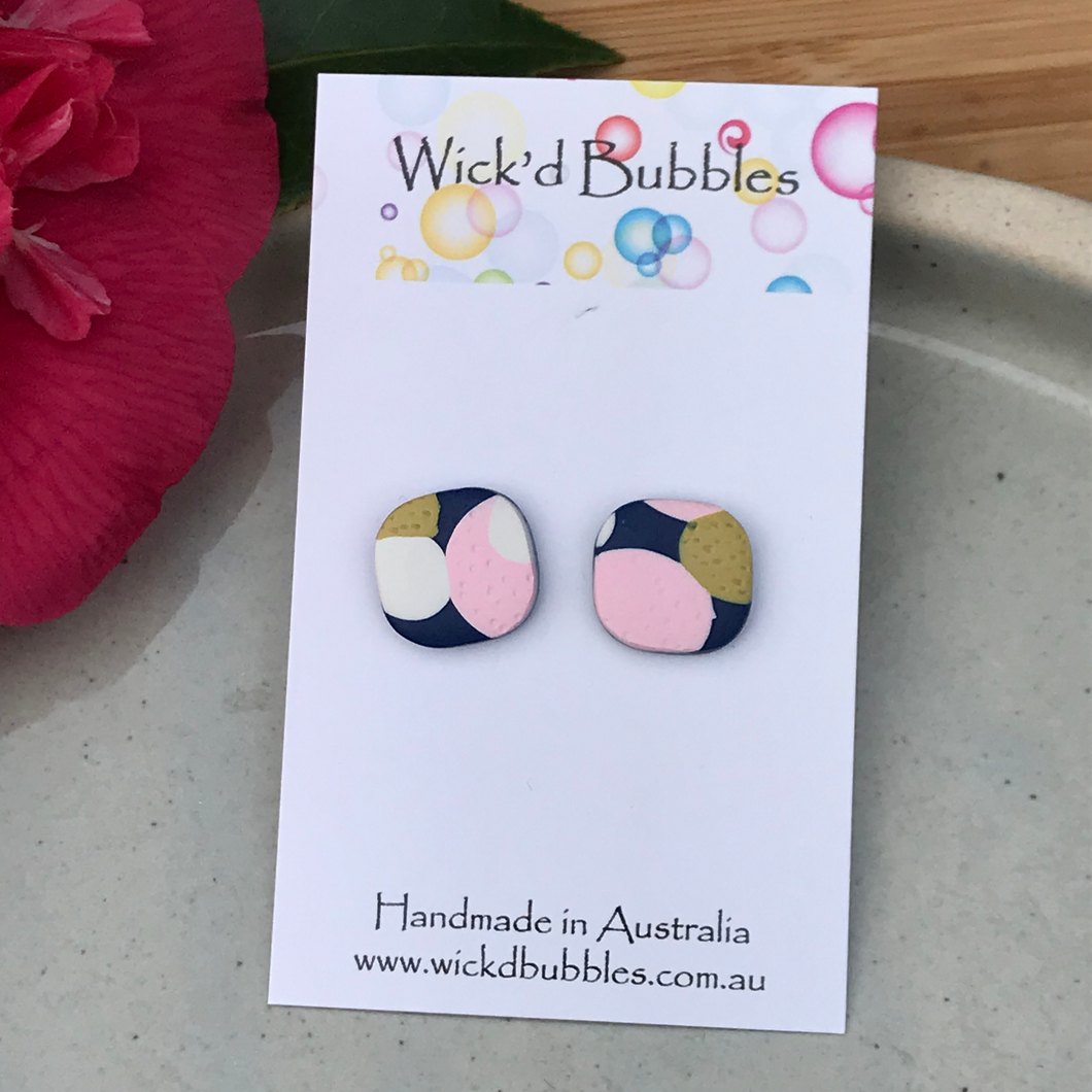 Pink and Mustard Stud Earrings | Single pack