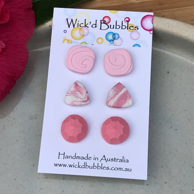 Pink Pack #2 Stud Earrings | 3 Pack