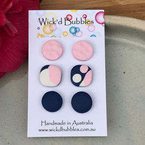 Pink and Navy Stud Earrings | 3 pack