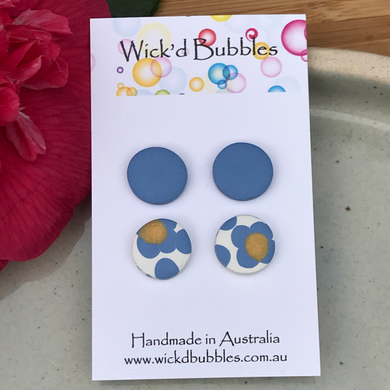 Blue Flowers Stud Earrings | 2 Pack