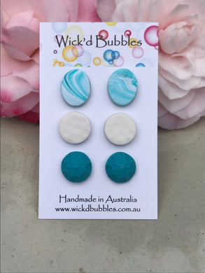 Teal and White Sparkle Stud Earrings #2 | 3 Pack