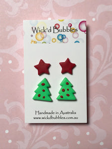 Xmas Tree & Star Stud Earrings #1  | 2 Pack