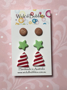 Xmas Tree, Star & mini Stud Earrings #1 | 3 Pack