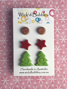 Xmas Tree, Star & mini Stud Earrings #2 | 3 Pack