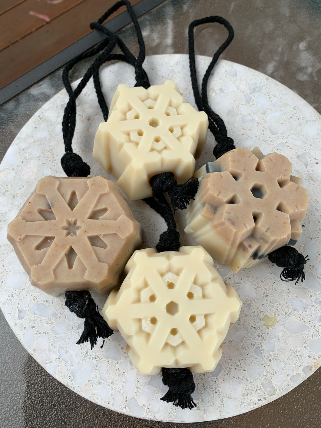Snowflake Soap on a Rope Varieties 90g