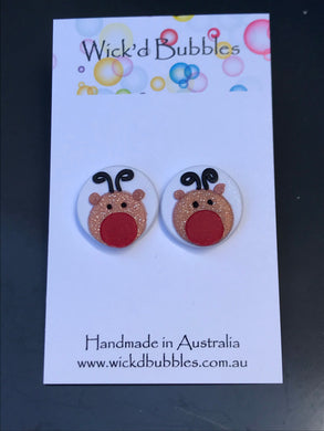 Reindeer Stud Earrings #2 white | Single Pack Xmas