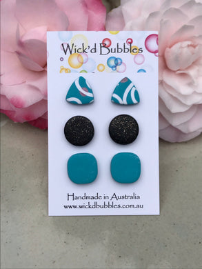 Turquoise Stud Earrings | 3 Pack