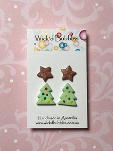 Xmas Tree & Star Stud Earrings #2 | 2 Pack
