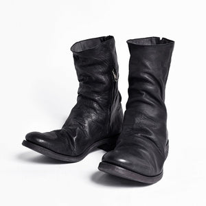 3187c9f37b72 Pleated Zipper Leather Boots – UMSHOPP
