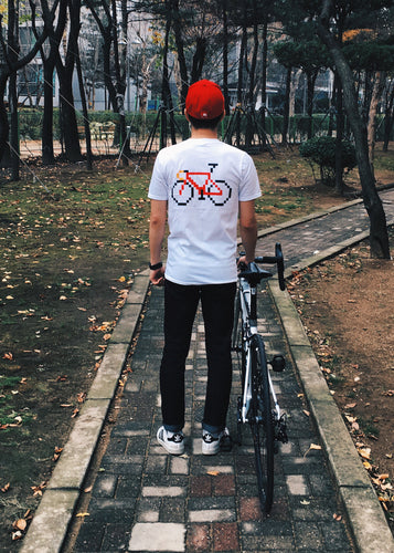 Pixel_Bike Tee in White