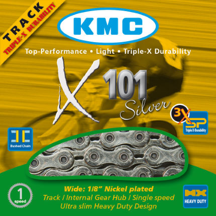 KMC X101 Single Speed Chain in Gold or Silver Finish