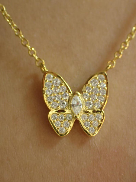 Butterfly Necklace / Simulated Diamonds Butterfly Necklace / 925 Sterling Silver Daily Wear Necklace / Gold Plated CZ Necklace