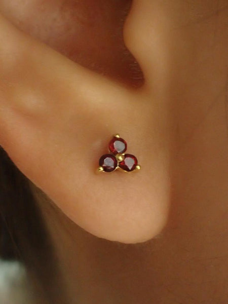 Lab-Grown Garnet Stud Earrings / Sterling Silver Earrings / Gold Plated Earrings / Three Stone Earrings / Minimalist Earrings