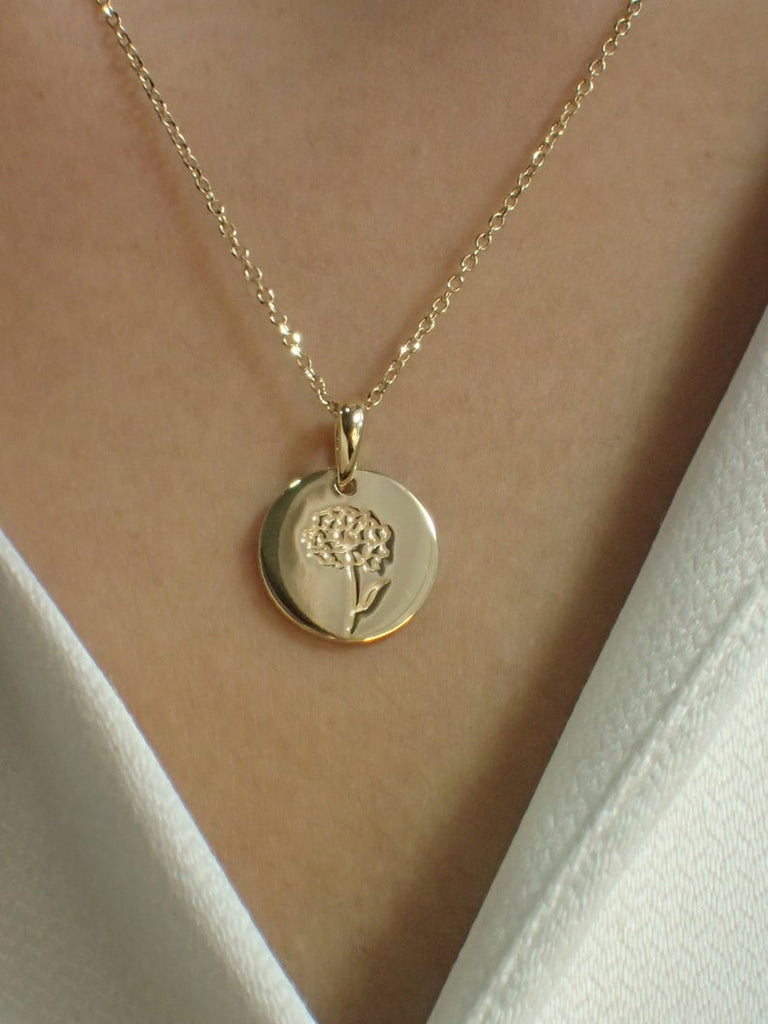 Sterling Silver Signet Necklace / Gold Plated Dainty Engraved Necklace / Minimalist Flower Necklace / Necklaces for Women