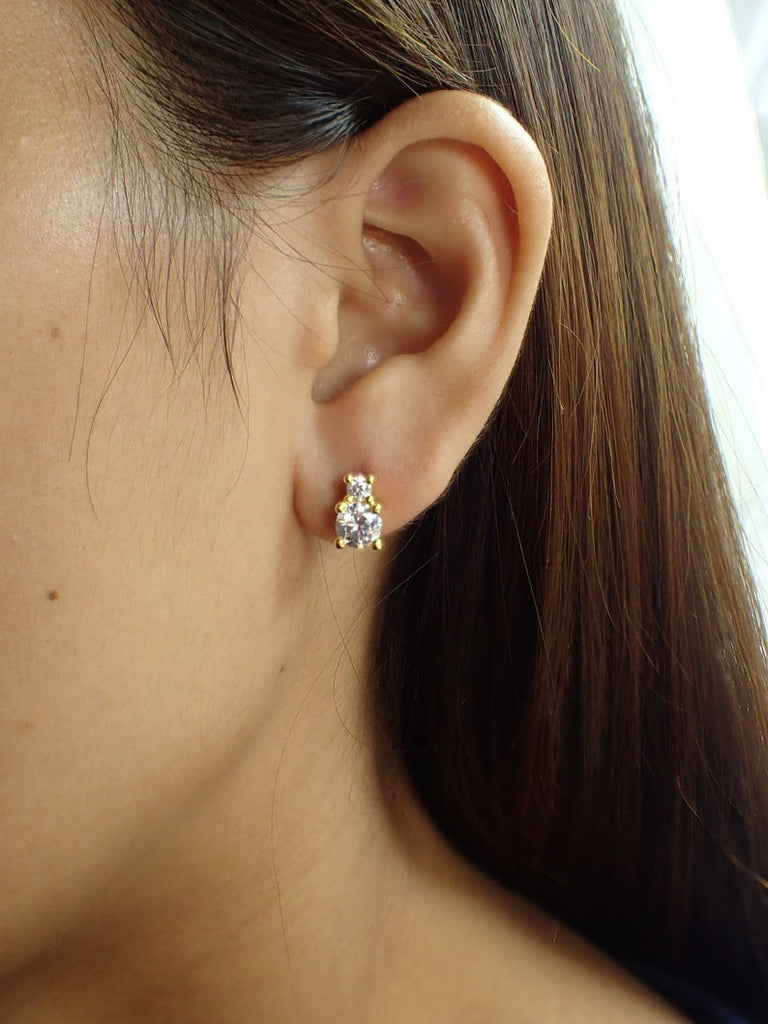 Two Stones Stud Earrings / Simulated Diamonds Gold Plated Earrings / Minimalist Post Earring / Delicate Bridesmaid Earrings