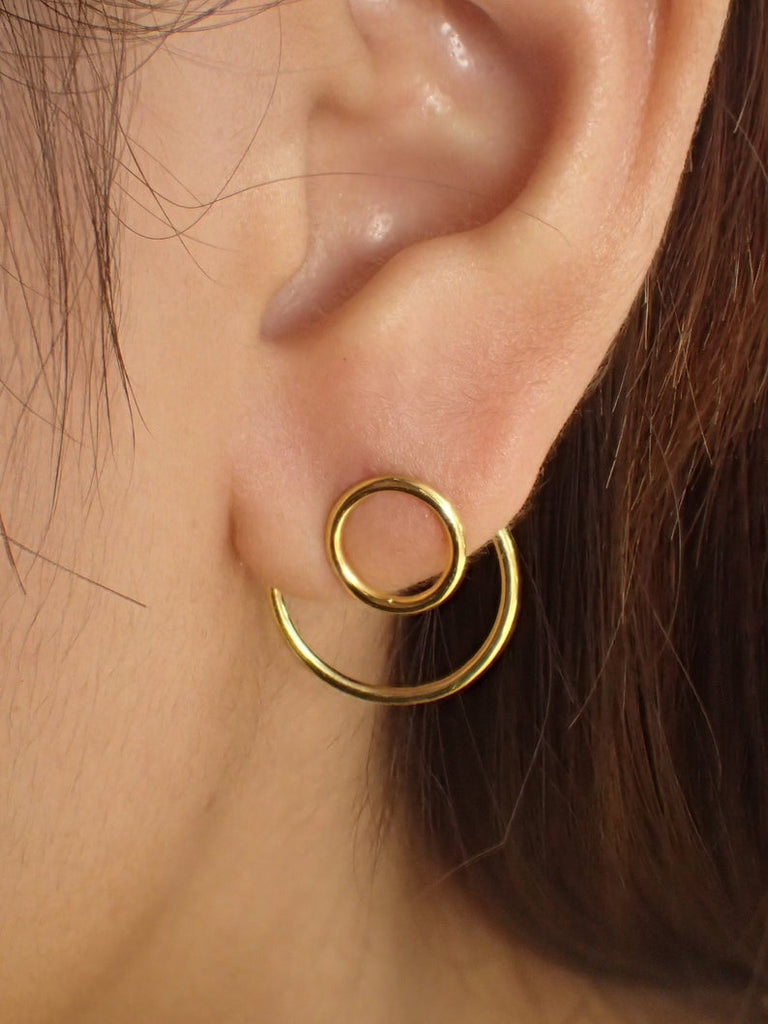 Open Circle Ear Jacket Earrings / 925 Sterling Silver Two Way Earrings / Gold Plated Geometric Minimal / Earrings Gift for Her