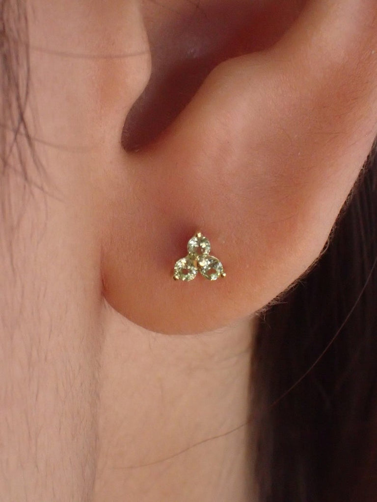 Lab-Grown Peridot Stud Earrings / Sterling Silver Earrings / Gold Plated Earrings / Three Stone Earrings / Minimalist Earrings