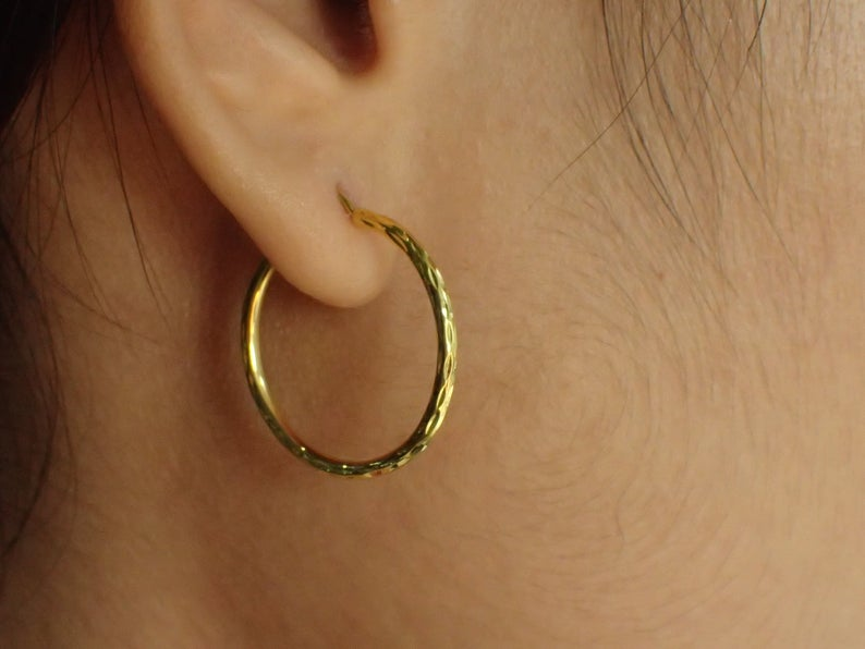 Hand Carved Minimalist Hoop Earring / 20 MM Gold Plated Hoop Earrings / Sterling Silver Hoop / Earrings Gift for Her