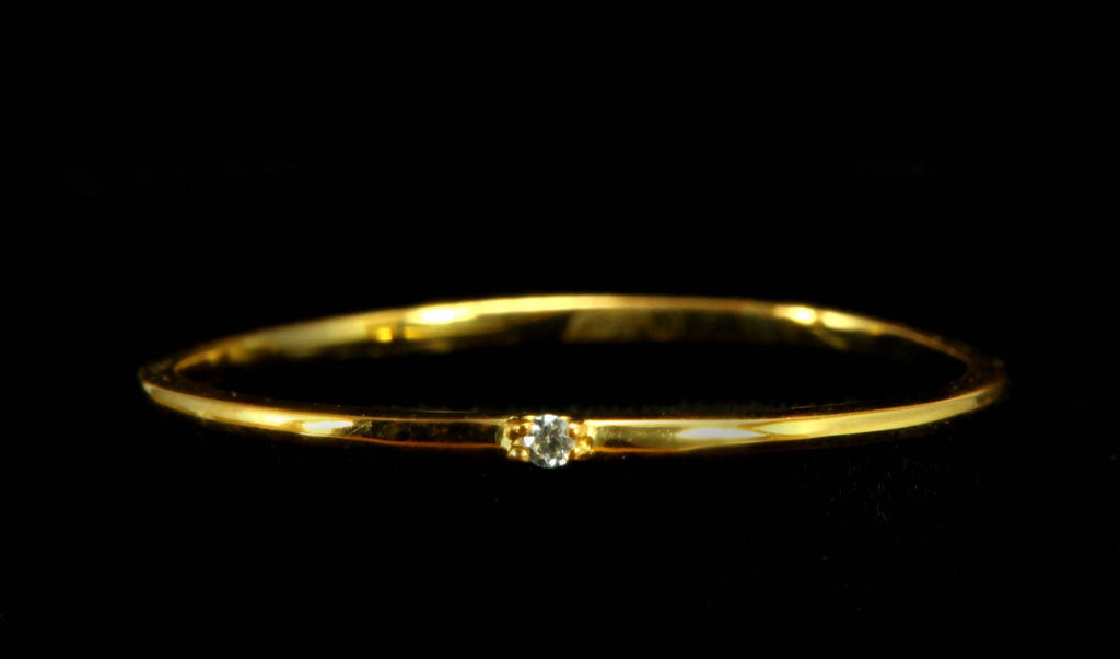 14k Gold Dainty Ring, Single Diamond Ring, Minimalist Black Diamond Ring, One Diamond Solitaire Ring
