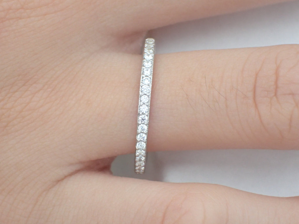 Channel Set Eternity Diamond Wedding Band, Full Eternity Ring, Channel Set Ring, Platinum 950 Thin Dainty Band