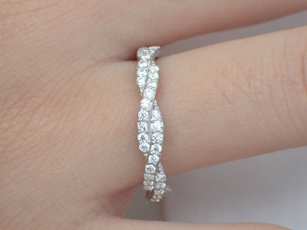 Infinity Ring, Platinum Infinity Wedding Band, Infinity Diamond Band, Full Eternity Ring, Delicate Infinity Ring