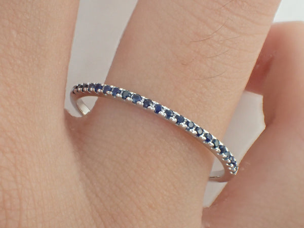 Blue Sapphire Eternity Ring Sapphire Band Wedding Band Gold Sapphire Ladies Sapphire Wedding Band Gold Sapphire Ring Stackable Half 1.3mm