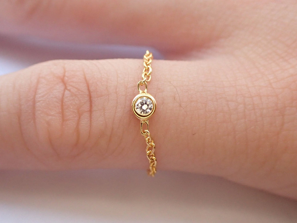 14k Gold Chain Ring, Bezel Set Diamond Gold Chain Ring, Delicate Chain Ring, Lovely Gifts for Anyone