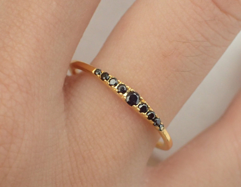 18k Gold Black Diamond Ring/ Tapered 18k Gold Band Black Diamonds/ Dainty Black Diamond Ring/ Gift for Her/ Available in 14k and Platinum