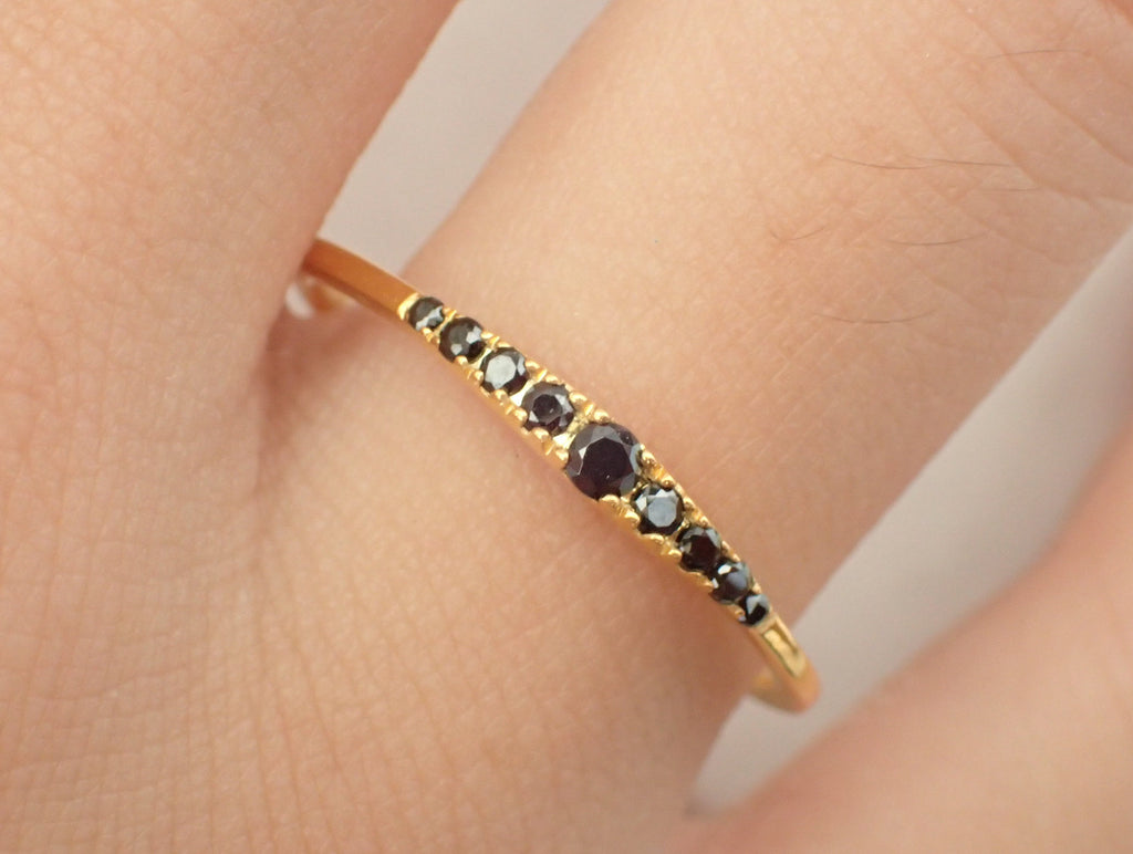 14k Gold Black Diamond Ring/ Black Diamond Band/ Tapered Black Diamond Ring/ Dainty Black Diamond Ring/ Dainty Available in 18k and Platinum