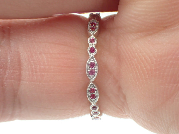 Marquise Shape Platinum Band, Pink Sapphire Art Deco Band, Full Eternity Band with Milgrain, Vintage Inspired Double Dot Ring
