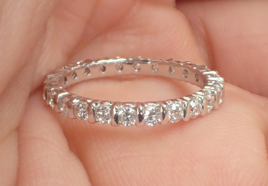 1//2 Carat 14K Solid White /& Yellow Gold Eternity Solitaire Engagement Ring 2mm