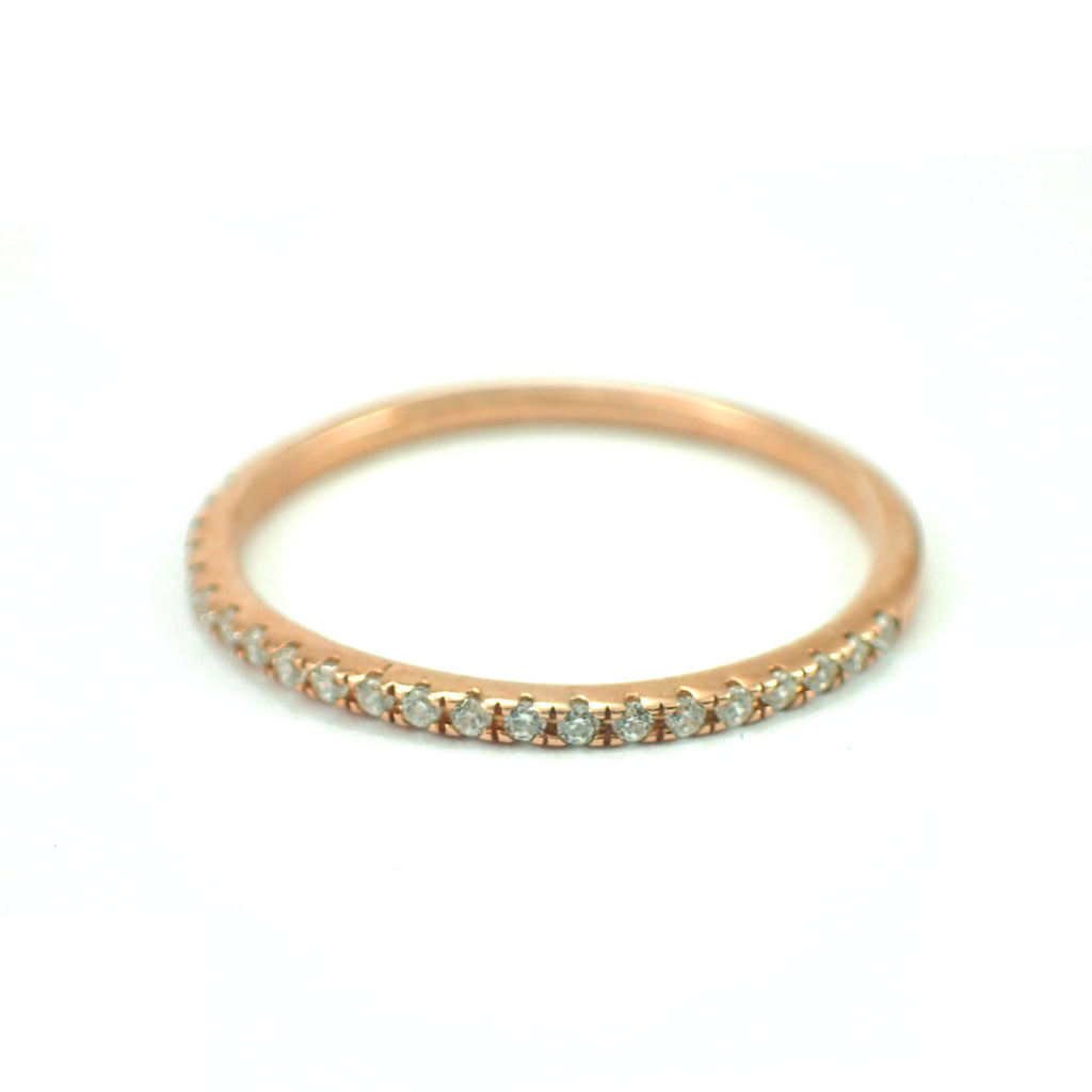 Micro Pave Eternity, 10k Gold Eternity, Half Eternity Pave Moissanite Band, Thin Dainty Stacking, Delicate Pave Ring