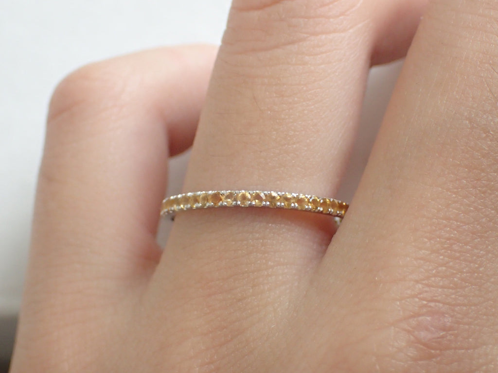 Yellow Sapphires Micro Pave Eternity Band, 14k Solid Gold Full Eternity Bad, Thin Dainty Band, September Birthstone Ring