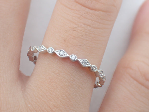 Art Deco Platinum Diamond Band, Vintage Inspired Band, Full Eternity Ring, Delicate Art Deco Band