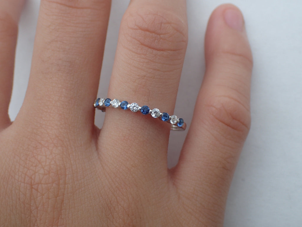 Blue Sapphire and Moissanite Wedding Band, Alternating Stones Ring, Prong Set Ring, 1.8mm Mixed Stones Platinum 950 Band