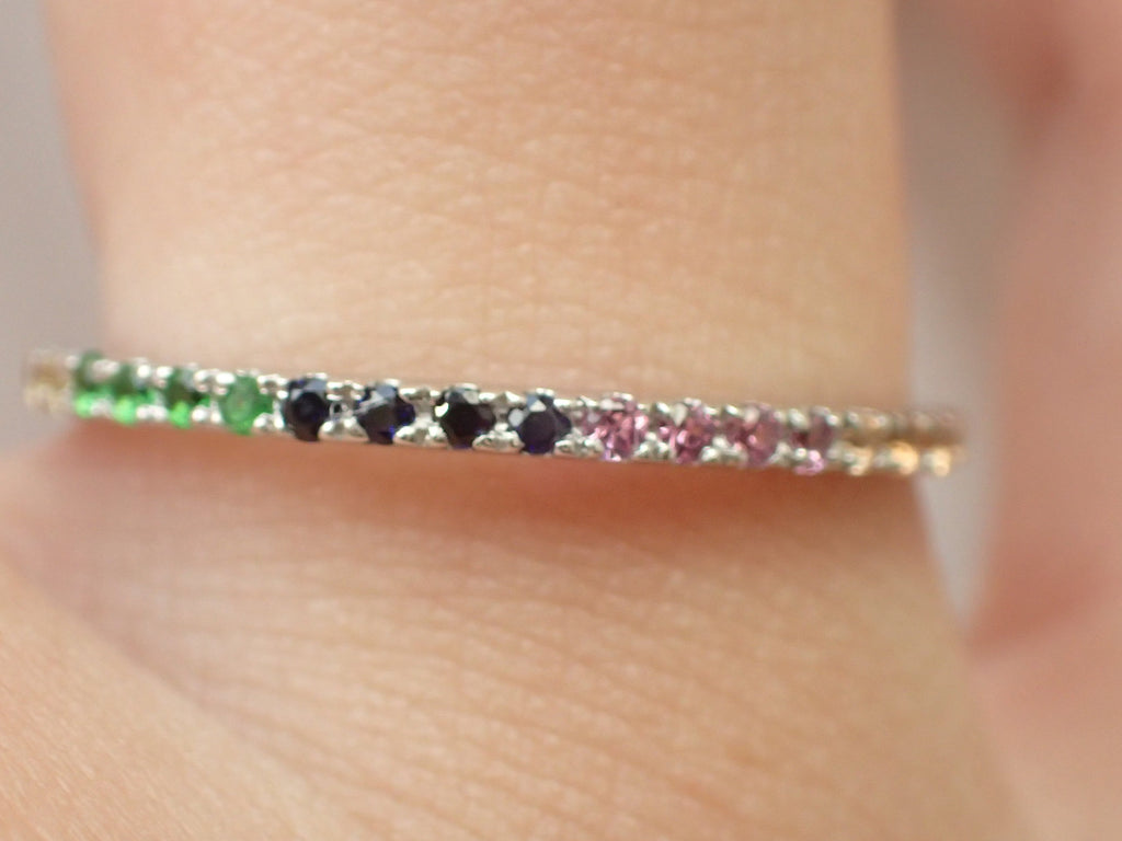 Rainbow Gemstone Eternity Band, 14k Gold Sapphire Ruby Amethyst, Full Stacking Band, Delicate Bridal Band