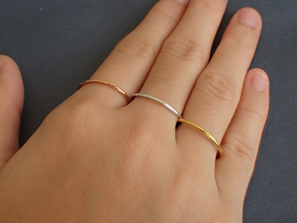 1 mm Gold Ring/ Dainty Solid Gold Thin Wedding Band/ Slim Stacking Ring/ Simple Gold Ring/ Solid Gold Ring, Midi Ring, Knuckle Ring 1mm