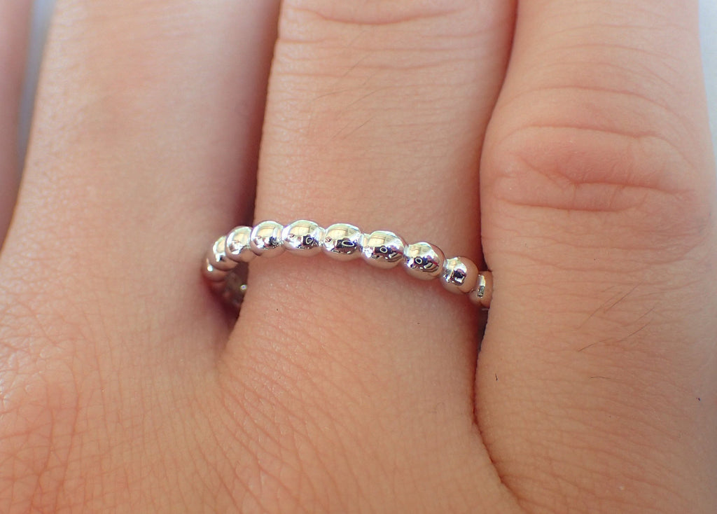 Hoop Beaded Gold Ring/ Spheres Ring Gift for Ladies/No Stone Band/ Beaded Platinum Band/ Spheres White Gold Band