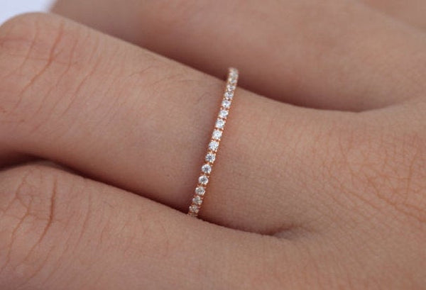 1.5mm CZ Eternity Band, 14k Solid Gold Full Eternity Band, 1.5mm CZ or White Sapphire Ladies Wedding Band, Dainty Thin Band
