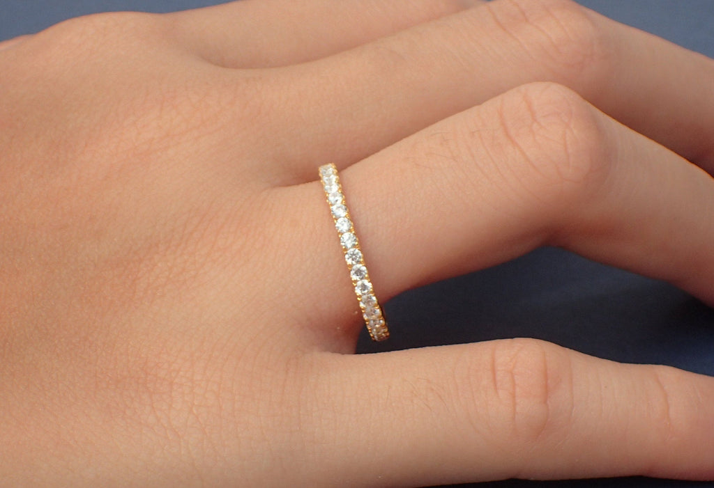 3/4 Micro Pave Eternity Diamond Wedding Band, Platinum Diamond Band, Almost Eternity Ring, Delicate Pave Ring