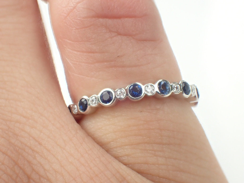 Alternate Blue Sapphire and Diamond Half Eternity Band, Delicate Sapphires Band with Diamonds, Gold or Platinum