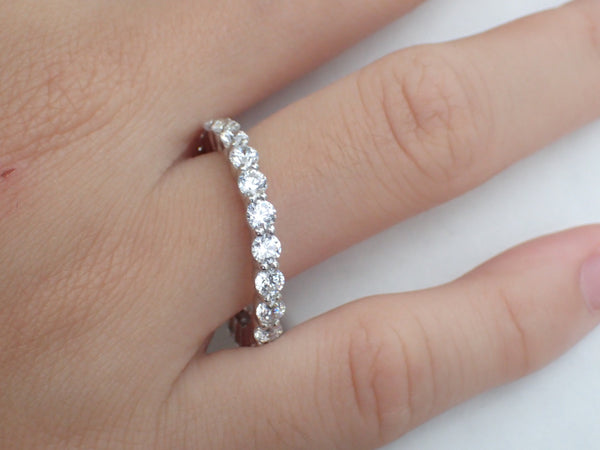 Moissanite Half Eternity Shared Prong Ring, 2.2mm Shared Prong Band, Floating Bubble band, Solid Gold Platinum PT950