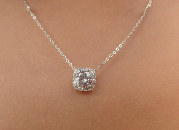 Cushion Cut Moissanite Pendant Necklace with Moissanite Accent Stones 14k Gold DEF Quality Moissanite Necklace Gift White Gold Moissanite