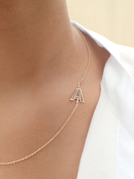 14k Solid Gold Asymmetrical Initial Necklace - Letter Necklace - Sideways Initial Necklace - Solid Gold Pendant - Asymmetrical Gold Necklace