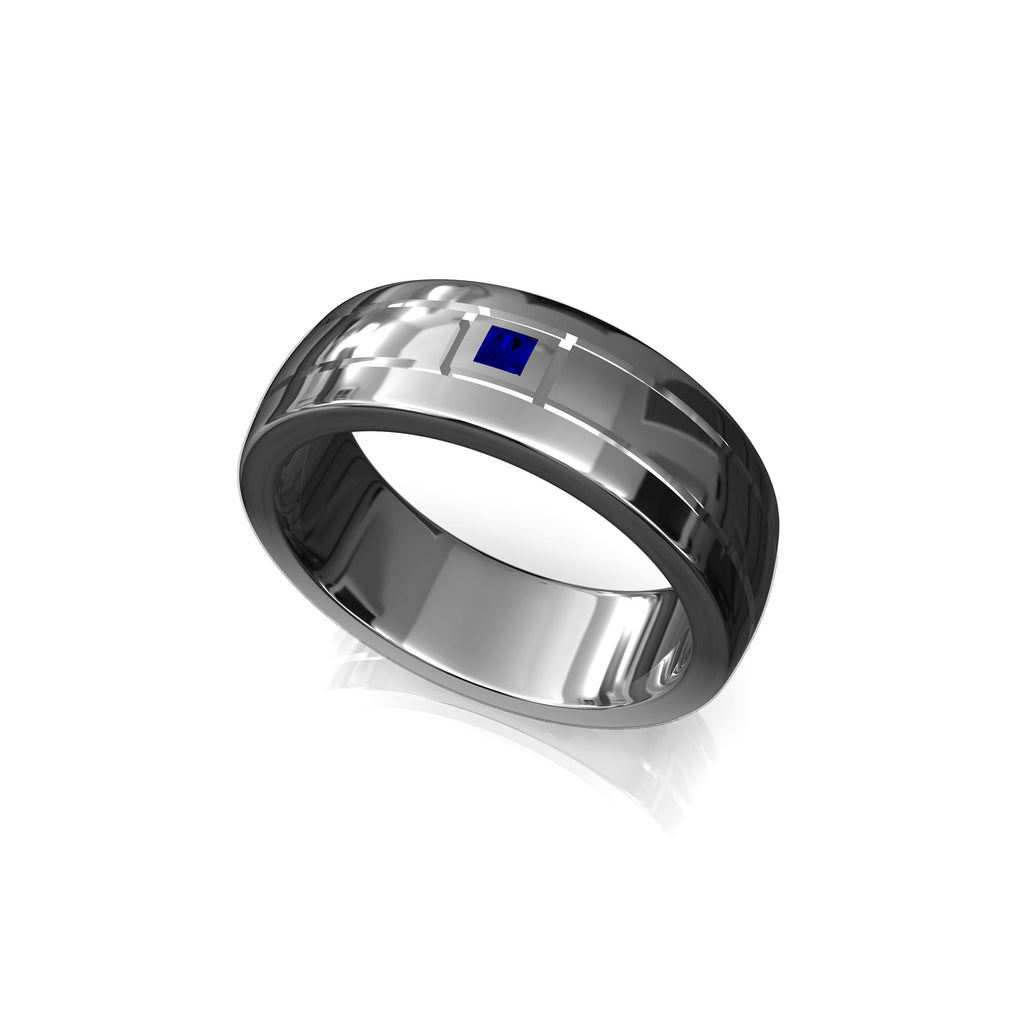 This is a picture of Single Sapphire Men Wedding Band, 43k Solid Gold Men's Ring, Princess Cut Natural Blue Sapphire Men Ring