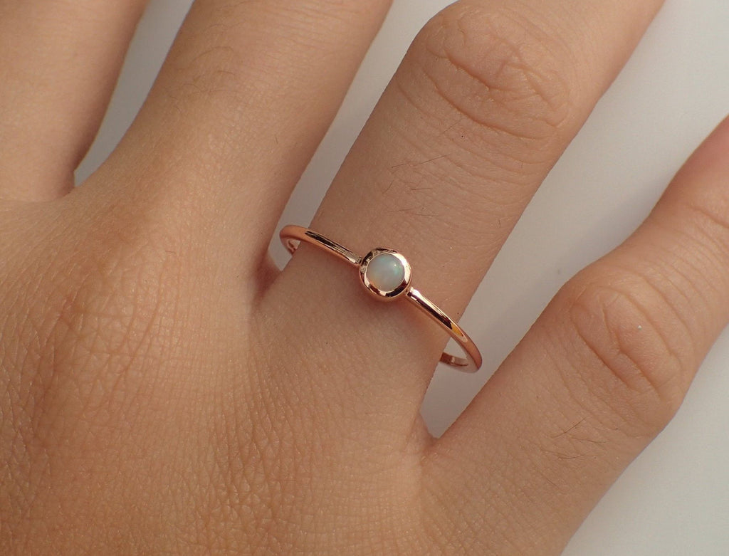 Opal Solitaire Ring, Opal 14k Gold Ring, Dainty Opal Ring, October Ring, Natural Opal Ring, Opal Promise Ring