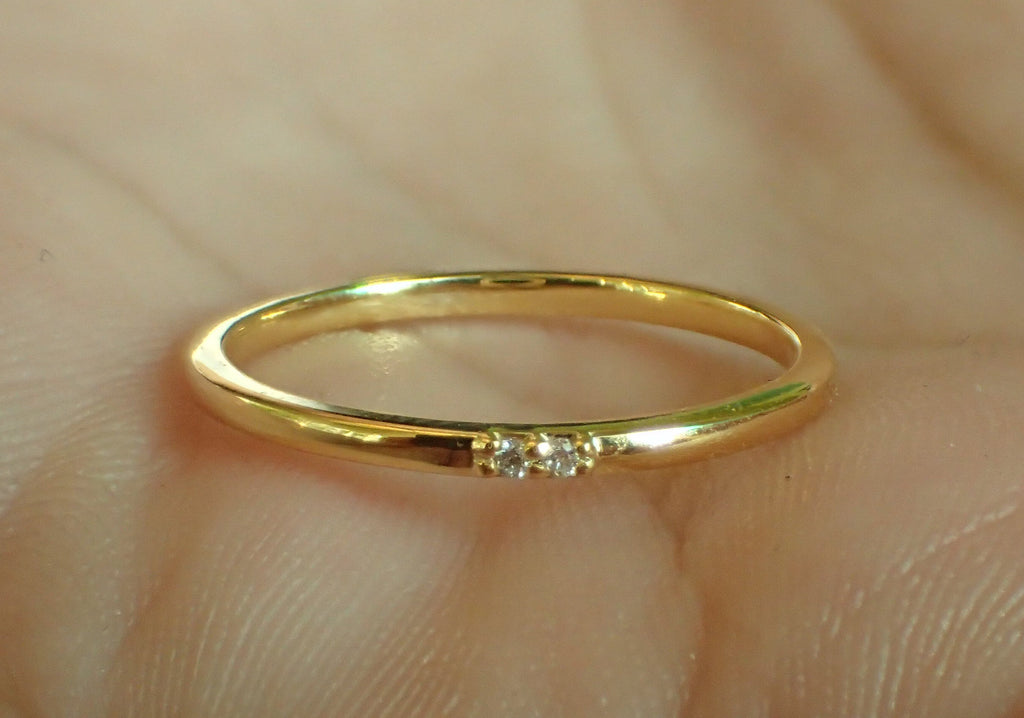 Thin Wedding Ring, 2 Stone Diamond Wedding Band, 14k Gold Diamond Stackable Ring, Micro Pave Diamond Band, Promise Ring