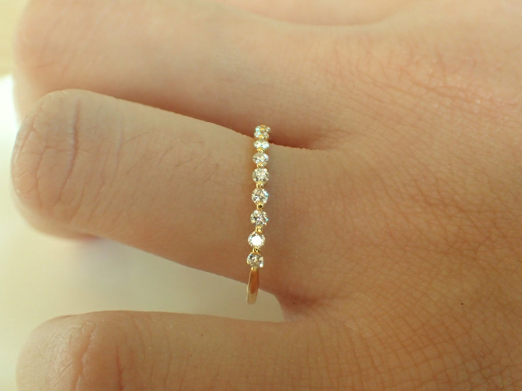 1.5mm Single Prong Moissanite Wedding Band, Solid Gold Half Eternity Floating Band, Delicate Moissanite Stackable Band