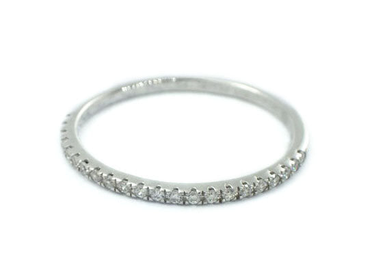 Solid Gold Half Eternity Micro Pave Ring, Micro Pave Diamond Thin Dainty Band, Micro Pave Eternity, Delicate Pave Ring